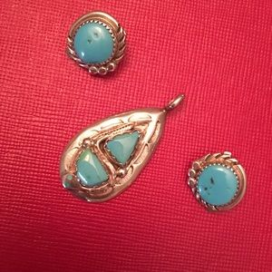 Sterling Silver / Turquoise Pendant/Earring Set